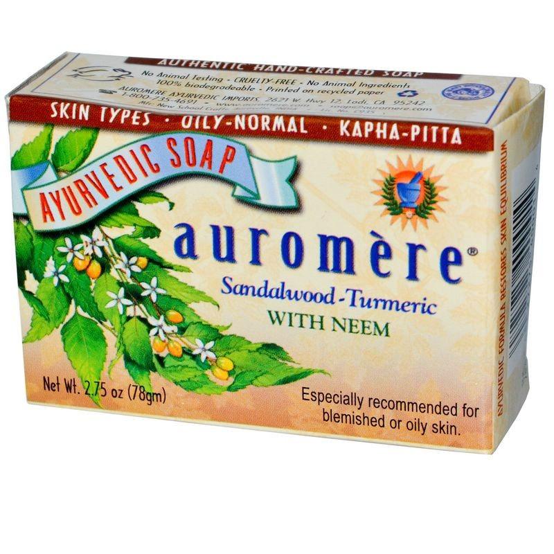 Auromere Аюрведическое мыло с маслом сандалового дерева и тумериком 78г