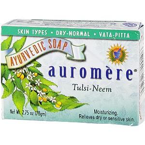 Auromere  Аюрведическое увлажняющее мыло с экстрактами Тулси и Ним 78г