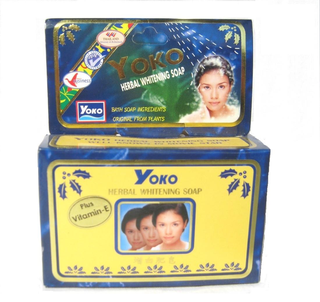 YoKo Production Травяное отбеливающее мыло с витамином Е, экстрактом клубники и салициловой  кислотой 80г.